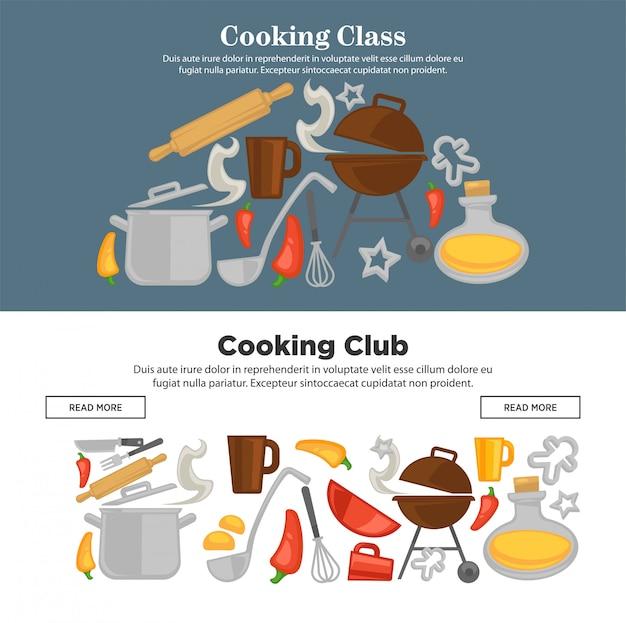 Insegne di web degli utensili da cucina di vettore della scuola di cucina