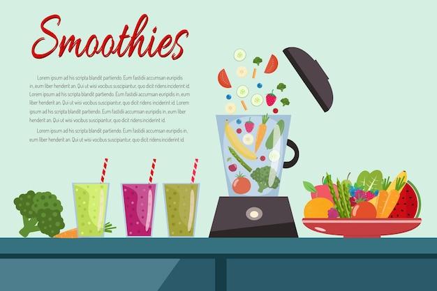 Frullati di cottura. piatto pieno di frutta e verdura. robot da cucina frullatore