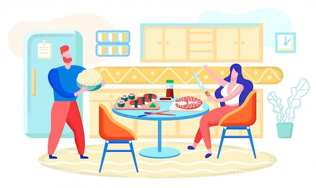 Cucinando i rulli di sushi a casa concetto piano