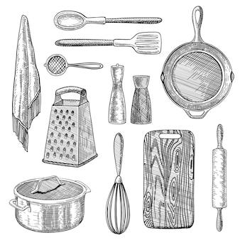 Set di illustrazioni incise di utensili da cucina
