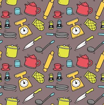 Fondo senza cuciture utensili da cucina