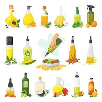 Set di olio vegetale da cucina di isolato su bianco. diversi tipi di olio per