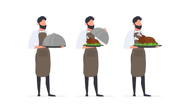 Cuochi insieme. il cuoco tiene un piatto di metallo con un coperchio. il cameriere tiene un piatto con una carcassa di carne fritta. isolato. vettore.