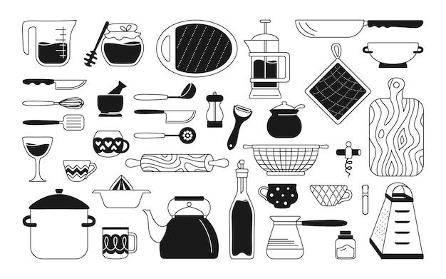 Pentole utensili da cucina set monocromatico nero strumenti di cottura cartone animato piatti, attrezzature utensili da cucina disegnati a mano in stile piatto, collezione in bianco e nero