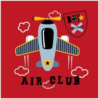 Simpatico aeroplano nel cielo divertente cartone animato animale