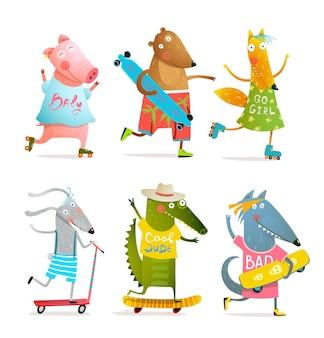 Animali fantastici che pattinano con pattini a rotelle e skateboard o longboard. design divertente del fumetto.