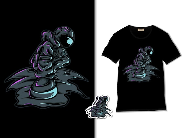 Raffreddare illustrazione astronauta con design t-shirt