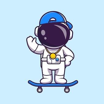 Astronauta fresco che gioca l'icona di vettore del fumetto dello skateboard. concetto di icona di sport di scienza isolato vettore premium stile cartone animato piatto