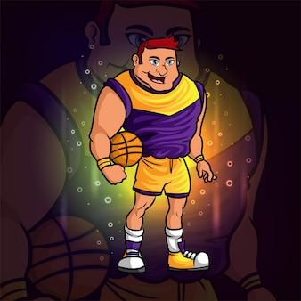 Il fantastico design della mascotte esport del giocatore di basket dell'illustrazione