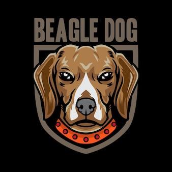 Fresco logo dell'emblema del cane beagle isolato sul nero