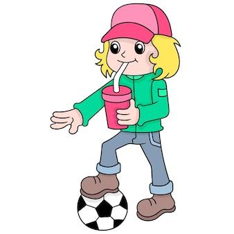 Un bel ragazzo dai capelli biondi che beve ghiaccio mentre gioca a palla, illustrazione vettoriale art. scarabocchiare icona immagine kawaii.