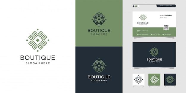 Fantastico logo boutique e design per biglietti da visita. bellezza, moda, salone, biglietto da visita, premium