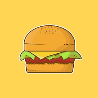 Hamburger fresco con illustrazione piana di vettore di verdure e formaggio
