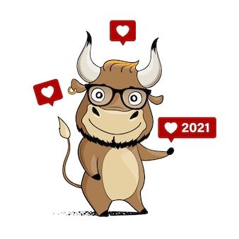 Cool cartoon toro con occhiali hipster e icone simili