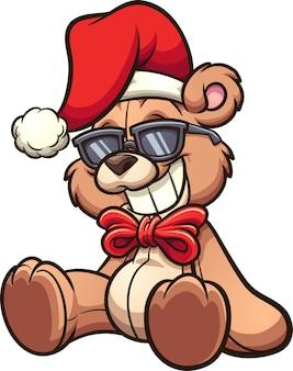 Orso di natale del fumetto freddo con gli occhiali da sole.