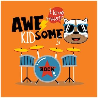Simpatico gatto il batterista divertente cartone animato animale
