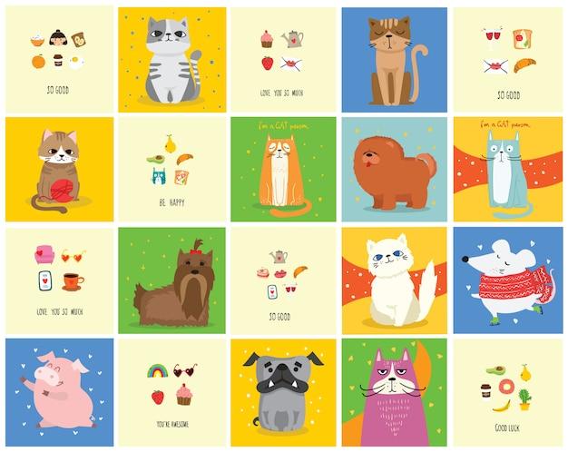 Fantastici gatti, topi, maiali e cani. vector design alla moda biglietti di auguri stile hipster, stampa t-shirt, poster di ispirazione.