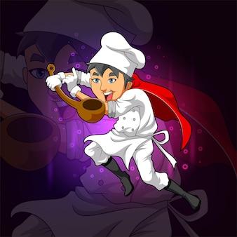 Il simpatico chef tiene in mano il mestolo di legno per il design del logo esport dell'illustrazione