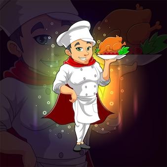Il simpatico chef sta servendo un pollo per il design del logo esport dell'illustrazione
