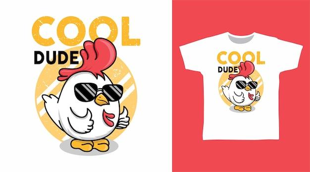 Fantastico pollo con il design della maglietta degli occhiali