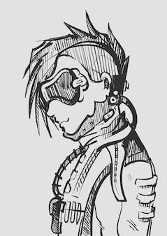 Fantastico ragazzo cyberpunk con una giacca di pelle e uno schizzo di occhiali