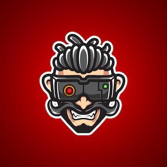 Freddo logo mascotte con testa di cyborg