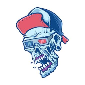 Raffreddare zombie dettagliate indossando il cappello testa