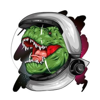 Fantastico dinosauro sullo sfondo dello spazio.