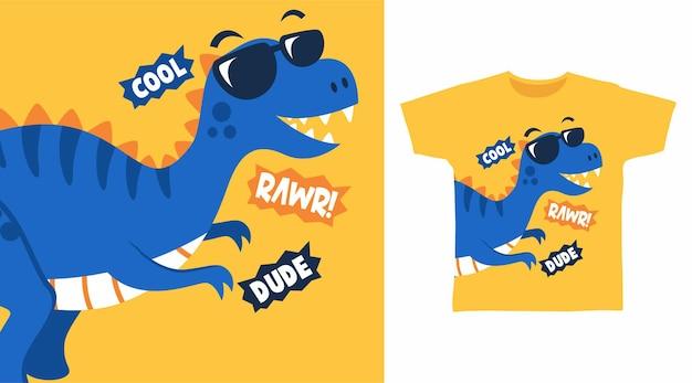 Fantastico design per magliette con occhiali da dinosauro