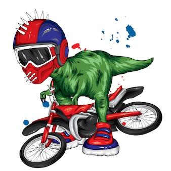 Fantastico dinosauro su una moto.