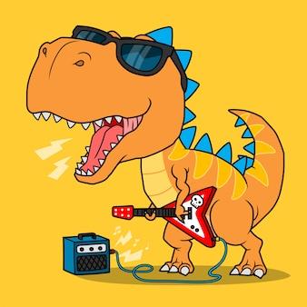 Fantastico dinosauro che suona la chitarra.