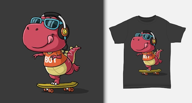 Fantastico dinosauro che gioca a skateboard con design tshirt