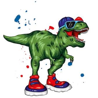 Fantastico dinosauro con scarpe da ginnastica, occhiali e berretto.