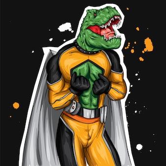 Un simpatico dinosauro in costume da supereroe.