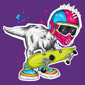 Fantastico dinosauro con uno skateboard.