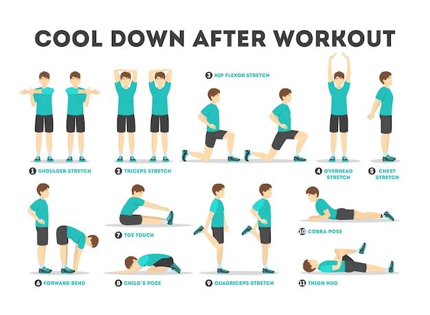 Raffreddare dopo l'allenamento set di esercizi. collezione