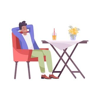 Composizione piatta bevanda fresca con uomo seduto al tavolo del ristorante con cocktail drink
