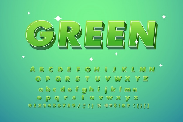 Cool carattere verde alla moda.