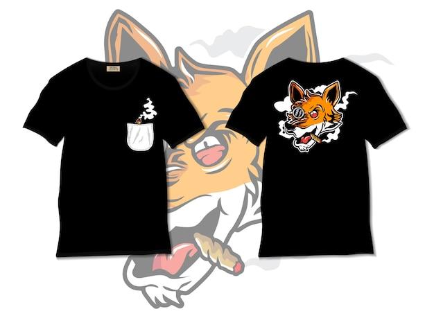 Cool foxy fumatore illustrazione con design tshirt, disegnato a mano Vettore Premium
