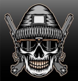 Illustrazione disegnata a mano del cranio di gangsta cool