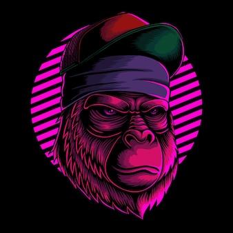 Illustrazione vettoriale di testa di gorilla cool