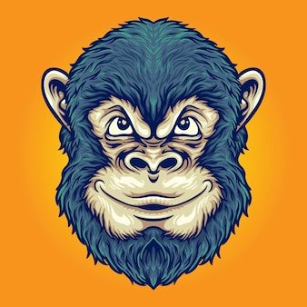 Cool head monkey thinking illustrazioni vettoriali per il tuo lavoro logo, t-shirt di merce mascotte, adesivi e design di etichette, poster, biglietti di auguri che pubblicizzano società o marchi.