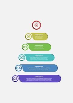 Fantastico design infografico a forma di piramide con cinque gradini con numeri