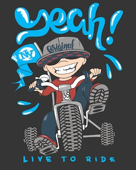Cool kid on bike, t-shirt print.