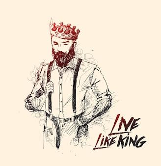 Cool king hipster design del personaggio in stile capelli