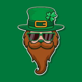 Cool leprechaun con vetro, baffi e cappello con trifoglio. festa di san patrizio.