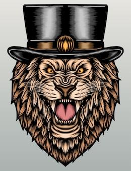 Cool leone con cappello a cilindro.