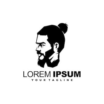 Cool man barba logo design vector