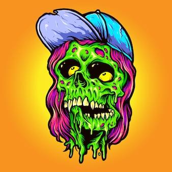 Cool man monster zombie illustrazioni vettoriali per il tuo lavoro logo, t-shirt di merce mascotte, adesivi e disegni di etichette, poster, biglietti di auguri pubblicitari società o marchi.