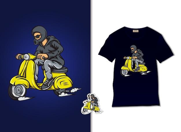 Cool man riding scooter illustrazione